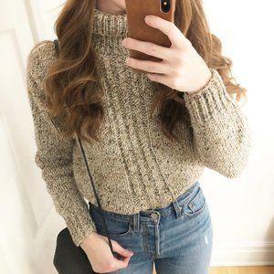 Vintage Wool Blend Hand Knit Turtleneck Sweater